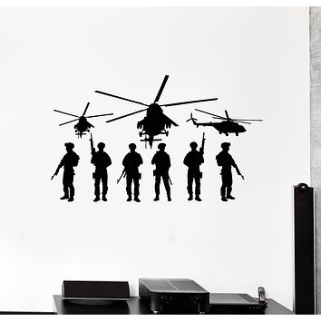 Vinyl Wall Decal Military Aviation Helicopter Fighter War Army Stickers Mural (g3868)