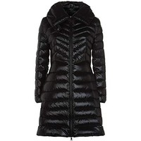 Moncler Women's Faucon Black Shiny Puffer Down Fitted 3/4 Coat