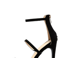 Three Love Black Suede Dress Sandals
