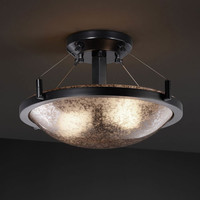 Justice Design Group FSN-9680-35-MROR-NCKL-LED-2000 Fusion Ring 14-Inch Two-Light Brushed Nickel Round 2000 Lumen LED Semi-Flush Mount With Ring - (In Brushed Nickel)