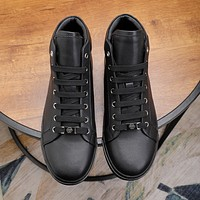 PP  Trending Women's men Leather Side Zip Lace-up Ankle Boots Shoes High Boots