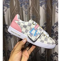 LV Louis Vuitton Trending Woman Stylish Casual Flats Sport Shoes Sneakers White Plaid I-ALS-XZ