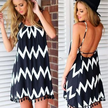 Summer Spaghetti Strap One Piece Dress [4917747204]