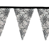 Halloween Bunting, Cobweb Bunting, Halloween Decoration (Black)