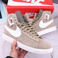 NIKE Fashion New Hook Print Sports Leisure High Top Women Men Sports Leisure Shoes Khaki