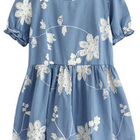 Floral Puff Sleeve Pleated Mini Dress