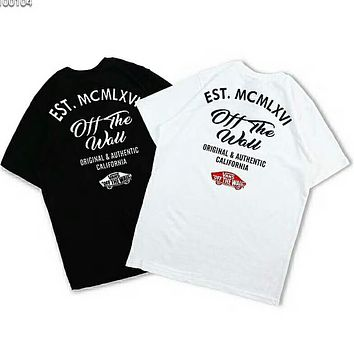 VANS OFF THE WALL Couple Short Sleeve Crew Neck Printed Short Sleeve F-Great Me Store