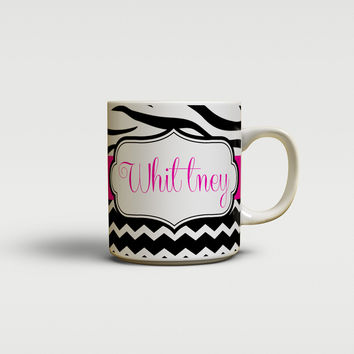 Girly chevron with zebra stripe - Unique coffee mug or cup