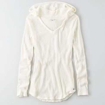 AEO RIBBED PULLOVER HOODIE