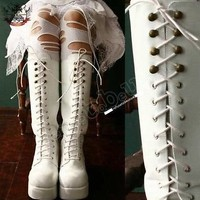 Gothic Lolita Lace up CORSET Platform Knee Boot White