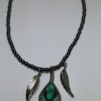 Beaded Hematite with String Pendent and Silver Tone Feather Necklace