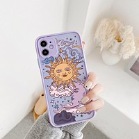 JAMULAR Funny Sun Moon Face Shockproof Phone Case For iPhone 11 Pro 7 XS MAX X XR SE 2020 8 Plus Soft TPU Matte Candy Back Cover