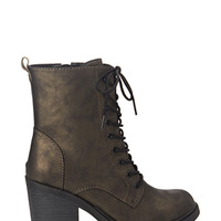 FOREVER 21 Lace-Up Combat Boots Bronze