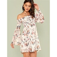 Bell Sleeve Off Shoulder Floral Dress