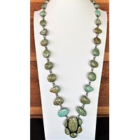 Sunwest Jewelry~ Unique Green Turquoise Long Statement Necklace