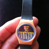 Vintage 1980's Pretty Preppy Pink and Striped Crest/Shield Ladies Swatch Watch