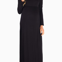 Black Long Sleeve Basic Maternity Maxi Dress
