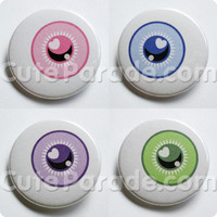 Creepy Cute Eyeball Pin Back Button Set of 4 (1.5 inches wide) Pink, Blue, Purple, Green Fairy Kei