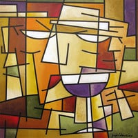 """Original Wine Art Painting - """"Over a Glass of Wine"""" - 24"""" x 24"""" - Ed"""