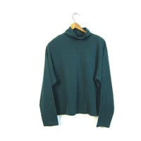 90s Vertical Rib Pullover Top Thin Cotton Blend Basic Shirt Green Ribbed Crop Top Turtleneck Shirt Mock Neck Basic Sweater Top Womens Large