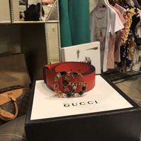 Auth Red Gucci Leather belt with multi crystal Double G buckle