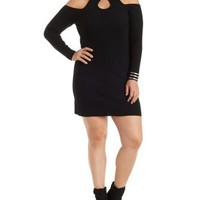 Plus Size Black Ribbed Cold Shoulder Tunic Sweater by Charlotte Russe