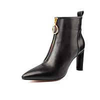 Pointed Toe Winter Leather High Heel Ankle Boots