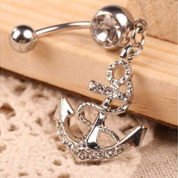 Women's Arrow Pendant Crystal Beads Belly Button Ring