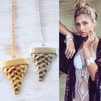 SHARK TOOTH ➳ SILVER/GOLD LONG CHAIN NECKLACE
