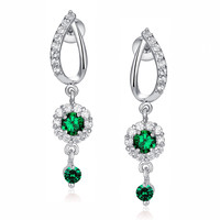 Flora Drop Green and Clear Round Cubic Zirconia Earrings