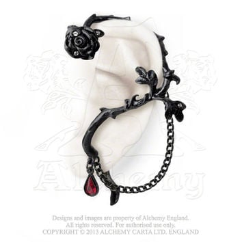 Alchemy Gothic Black Rose of Passion Ear Wrap