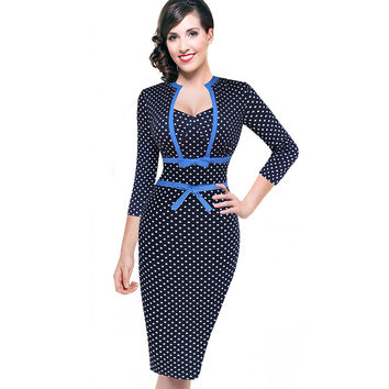 Vfemage Women Vintage Rockabilly Retro Polka Dot Bowknot Pinup Tunic Slim Business Casual Party Bodycon Fitted Sheath Dress 1901