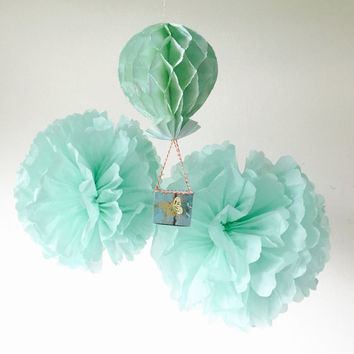 Pom Pom Hot Air Balloon Tissue Paper set of 2 Mint tissue paper pom pom and 1 honeycomb hot air balloon decoration for birthdays,baby shower