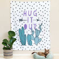 Cactus Hug it Out Tapestry