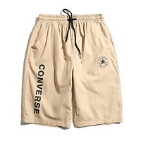 Converse New fashion letter star print couple shorts Khaki