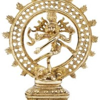 SouvNear Lord Shiva Statue / Brass Nataraja Idol - Metallic Golden-Look 8.3 Inches Tall Sculpture with 2.28 Pound Weight - Ethnic Home Decor / Religious Gifts for Men and Women