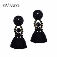 eManco Hot Now Ethnic Bohemia Tassel Statement Dangle Drop Earrings for Women Black Resin Button Crystal Beads Jewelry