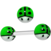 Green and White Searching for Summer Ladybug Barbell Tongue Ring | Body Candy Body Jewelry