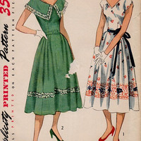 1950s Sewing Pattern Simplicity 3563 Tea Dress Garden Party Dress Full Pleated Skirt Large Shawl Collar Sleeves Fitted Bodice Bust 32