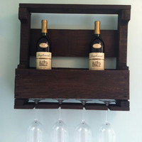 Small Reclaimed Wooden Wine Rack With Glass Holders
