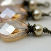 Golden AB Faceted Flat Teardrop Crystal and Pearl Pendant Bead Dangle Charm Drop Set