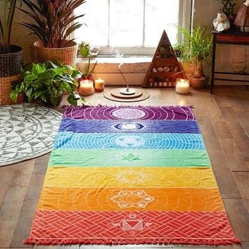 yoga Rainbow Beach Mat Mandala Blanket Wall Hanging Tapestry Stripe