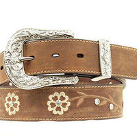 Ariat Women's Western Scrolling Flowers Brown Leather Belt