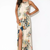 White Floral Print Hem Maxi Dress
