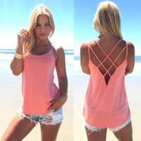 Women Sexy Strap Cross Hollow Out Vest Pure Color Basic Casual Loose Tank Tops Camis 7_S Christmas Gift QD112001