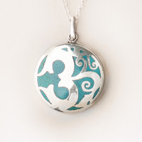 Silver Inlaid Turquoise Om Necklace