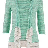 Striped Trim Hacci Open Front Blanket Cardigan