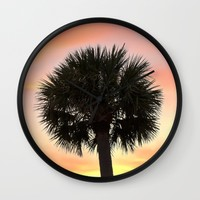 Palm and Sunset Wall Clock by Legends Of Darkness Photography