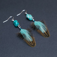 Real feather earrings with turquoise gemstone Tribal jewelry Ethnic earrings Dangle earrings Gift for her Womens gift Native American