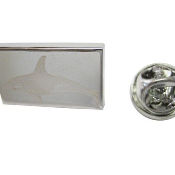 Silver Toned Etched Swimming Killer Whale Orca Lapel Pin